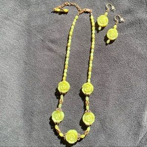 Green Soapstone Necklace and Earrings